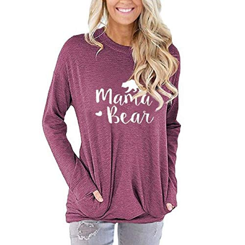 AELSON Women's Casual Mama Bear Printed Round Neck Sweatshirt T-Shirts Tops Blouse with Pocket