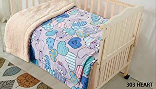 Elegant Home Kids Soft & Warm Cute Bears and Hearts Design Sherpa Baby Toddler Girl Blanket Printed Borrego Stroller or Baby Crib or Toddler Bed Blanket Plush Throw 40X50 (Heart)