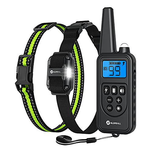 Price comparison product image Slopehill Dog Training Collar,  Waterproof Dog Shock Collar with 2600Ft Remote,  Rechargeable Dog Collar with Vibration,  Beep,  Shock Light Modes,  Adjustable 0 to 99 Shock Levels
