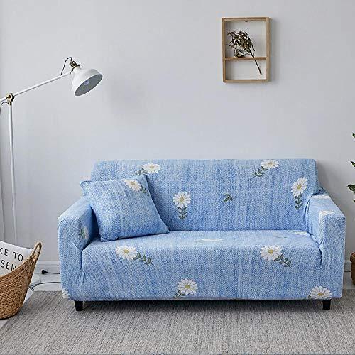 Estiramiento Funda de sofá 4 Plazas 1 Pieza Antideslizante Fundas Impresa para Sofas Sofás Cubre Sofá Ajustable Protector de Muebles 2 Fundas de Almohada Margarita Azul Blanca
