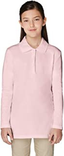 French Toast Girls' Long Sleeve Interlock Polo with Picot Collar