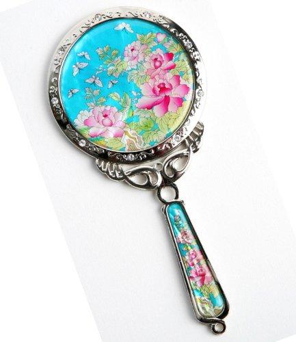 Miroir à main, fait à la main mother of cadeau Pivoine