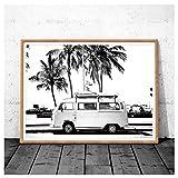 AdoDecor Impresión de fotografía Costera Vintage Retro Bus Van Camper y Palmera Negra Pintura de Lienzo Cuadro de Pared Decoración de Arte costero 50x72cm sin Marco