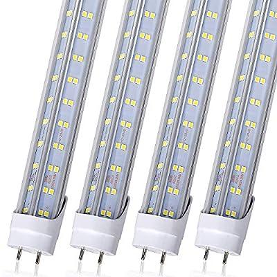 T8 LED Tube Light Bulbs 4FT, 60W 6500Lm 6000K Cool White Light, T8 T10 T12 Fluorescent Replacement Bulbs 4 Foot, High Output D-Shaped, Bi-Pin G13 Base, Dual-End Powered, (4ft V Shape 6000K 25PCS)