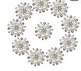 ULTNICE Bottoni di Perla Pulsante con Perline e Strass finte per Mestieri Fai da Te di 30 mm 10PCS
