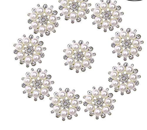ULTNICE Botones de perla con perlas y diamantes de imitación para manualidades, 30 mm, 10 unidades