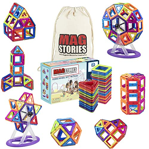 MagStories Magnetic Building Blocks 46 Pcs Ferris Wheel, Magnet Blocks Set, 3D Kids Magnetic Toys Construction Stacking kits. Educational, improves creativity and motor skills. Comes with Carrying Bag
