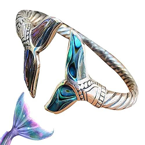 Pulsera de cola de sirena, concha de abulón y plata de cola de sirena, cadena de mano abierta ajustable para mujeres y niñas, brazalete de estilo marino para regalo inspirador perfecto