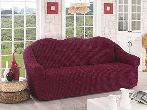 My Palace Samina Sofabezug 3-Sitzer Rutschfester Stretch Spandex Sofaüberwurf Couchcover Sofa Überwurf elastische Sofahusse Couchbezug Sofaschonbezug 140-210cm Weinrot
