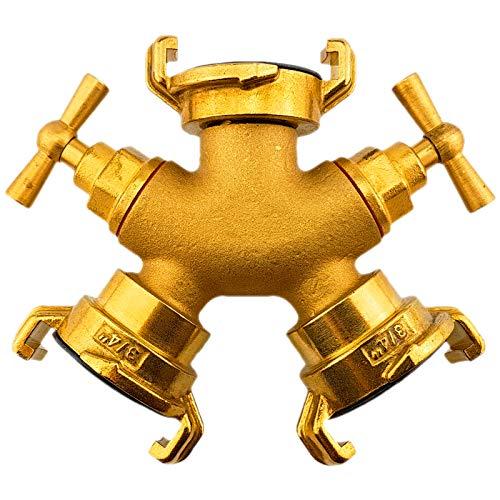 Qualitäts Schnellkupplung System aus Messing für Wasserschlauch Kupplung Tülle passend zu System Geka | Ausführungen einfach auswählen >>> Zweiwege-Hahn Schnellkupplung Systemgröße