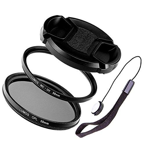LUMOS Creative Tools 58mm Objektiv Filter-Set mit MC UV Schutz-Filter Polfilter CPL Objektivdeckel und Halter passend zu Ihrem Kamera Objektiv mit 58 mm Filtergewinde