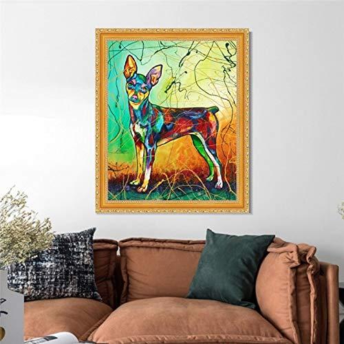 Dogs schilderij schilderij met nummer canvas afbeeldingen op cijfers met kits voor de woonkamer poster 40x50cm no framed