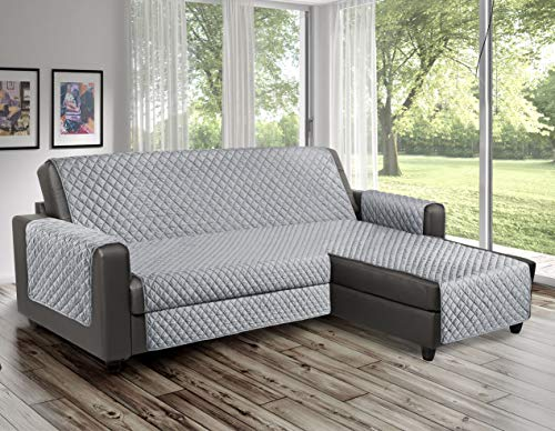 Funda de sofá acolchada - Línea Reverse - Ideal para sofá esquinero con chaise longue tanto derecha como izquierda - Funda reversible a prueba de mascotas