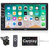 Apple Carplay Double Din Car Stereo with Backup Camera and Bluetooth CAMECHO 7 Inch Touch Screen Radio System for Car Support Mirror Link, FM, Remote Control, SWC, USB/TF/AUX