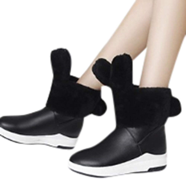 BiuBuy Women's Winter Flat Warm shoes Cute Snow Boots Suede Chunky Mid Heel Rabbit Ears Short Boots