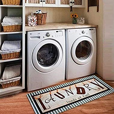 Ustide Vintage Style Waterproof Floor Runners Non Skid Kitchen Floor Mat Laundry Room Cheap Washhouse Mat Bathroom Rugs Non-Slip Rubber Area Rug 2x4 (20 x48 , Vintage Style)