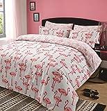 Dreamscene Bettbezug mit Kissenhülle Steppdecken-Bezug-Set, Flamingo, Tiermotiv Rosa Grau -...