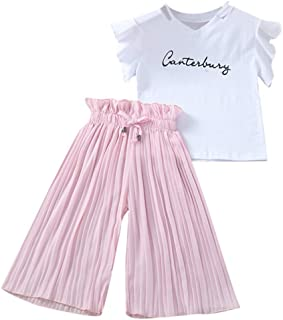 FWEIP Kids Baby Girls Letter T Shirt Tops+Ruffle Loose Pants Short Sleeve Pit Strip Wide Leg Pants Outfits