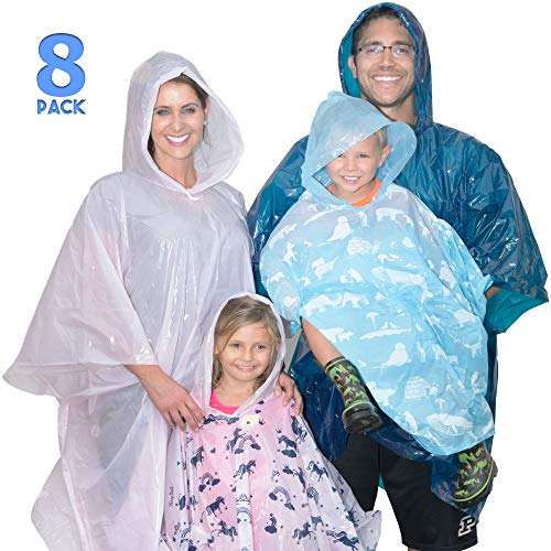 Disposable Rain Poncho Family Pack of 8 –  4 Hooded Ponchos for Adults, 4 Kids Ponchos with Fun Designs
