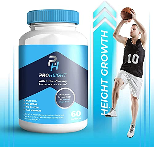 Height Growth Formula - Grow Taller Supplement - Made in USA - Doctor Recommended Height Maximizer - Grow Taller Pills - Supplement for Natural Bone Growth - 3 Pack - ProHeight 60ct
