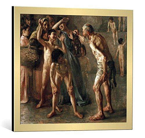 Kunst für Alle Cuadro con Marco: Lovis Corinth Diogenes Seeks an Honest Man with His Lamp During Broad Daylight - Impresión artística Decorativa con Marco, 65x55 cm, Dorado Cepillado