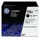 HP 55X CE255XD, Negro, Cartucho Tóner de Alta Capacidad Original, Pack de 2, para impresoras HP LaserJet Enterprise serie P3010, P3015, 500 MFP 525 y LaserJet Pro 500 MFP M251
