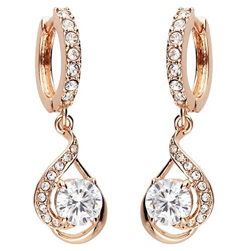 MYA art Damen Goldene Creolen Ohrringe Hängend Ohrhänger mit Zirkonia Stein Tropfen-Anhänger Rose Gold Vergoldet Rosegold Weiß