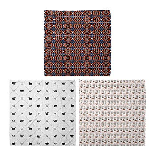 ABAKUHAUS Pack de 3 Bandanas Unisex, Tribal geométrico motivos tradicionales Corona sesión Cafetera y cucharas, Multicolor