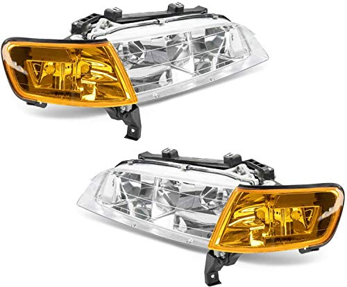 Torchbeam Replacement Headlight Assembly for 1994 1995 1996 1997 Accord Headlights Chrome Housing Amber Reflector Clear Lens Driver and Passenger Side