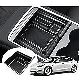 GAFAT Tesla Model 3 Model Y Caja de Almacenamiento para Apoyabrazos, Bandeja de Reposabrazos, Consola Central Organizador Coche (Blanco)