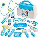 BUYGER Conjunto Medico Juguetes con Luces y Sonido Maletin Doctora Kit Enfermera Juguetes Juegos de rol Regalos de Cumpleaños de Navidad para Niña Niños Bebé 3 4 5 Años (Azul)