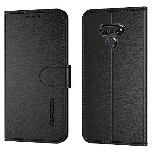 FMPCUON Handyhülle Kompatibel mit LG K50/LG Q60,Premium Leder Flip Schutzhülle Tasche Hülle Brieftasche Etui Hülle für LG K50/LG Q60 (6.26 Zoll),Schwarz