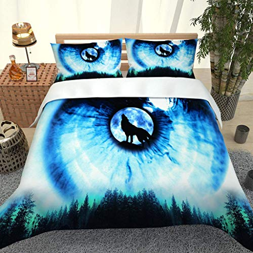 MQBHJI Duvet Covers King Size Beds - 3 Pcs Ultra Soft Hypoallergenic Microfiber King Size Bedding Sets With Zipper Closure With 2 Pillowcases, 230X220cm, 3D Printed Forest Animal Wolf