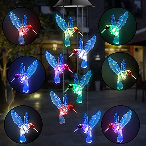 Holiday Lighting Color Changing LED Solar Power Lamp Hummingbird Wind Chimes Garden Decoration Yard Waterproof LED Light Lighting Hanging Decor Lighting Strings