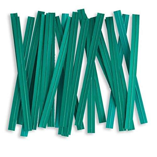 100pcs Plastic/Paper Coated Green 4' X 1/4' Twist Ties - Won't Rip or Pull Off