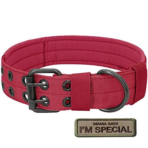 S.Lux Collares de Perro de Nylon, Anti-Desgaste Entrenamiento táctico al Aire Libre Cinturones de Perro de led Collar de Perros Grandes Negro Verde Marrón Collar para tu Perro (Rojo, L)