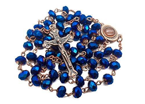 Nazareth Store Tiefblaue Kristallperlen Rosenkranz Katholische Halskette Heiliger Boden Medaille Kreuz Kruzifix Antik Design Rosenkranz in Samttasche