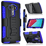 Nexus 6P Case, Starshop [Heavy Duty] Full Protection Dual Layers Hybird Case with Kickstand and Locking Belt Swivel Clip with Premium Screen Protector - Blue