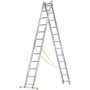 WOLFPACK LINEA PROFESIONAL 23020002 Escalera Aluminio 2 Tramos 9+9 Peldaños: Amazon.es: Bricolaje y herramientas