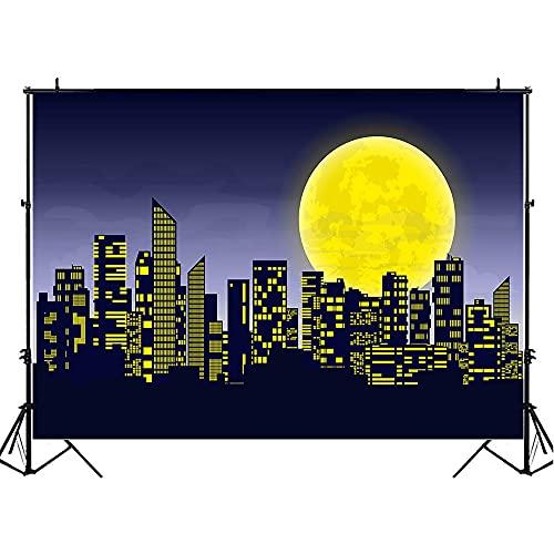 Fondo de cumpleaños de superhéroe Edificio de la Ciudad de Dibujos Animados Escena Nocturna decoración de Fiesta de cumpleaños Foto de Fondo Estudio fotográfico A9 5x3ft / 1,5x1m