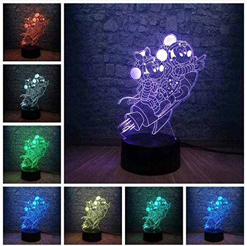 Lampe 3D de bande dessinée Mickey Mouse Minnie Friends par Rocket Led Night Light 7 changement de couleur USB Base Noël décoratif enfant cadeau jouet