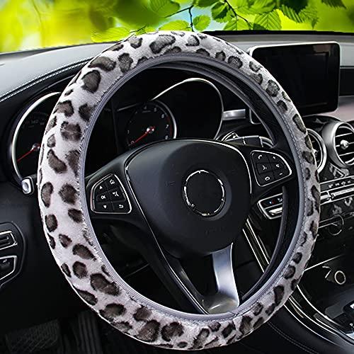 10. YOGURTCK Soft Velvet Fluffy Leopard Steering Cover