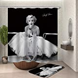 XQWZM 3D-Druck Marilyn Monroe Duschvorhang ✚ 60X40Cm Mat Set, Waterproofbathroom Curtains, für Bad Dekoration mit 12 Haken