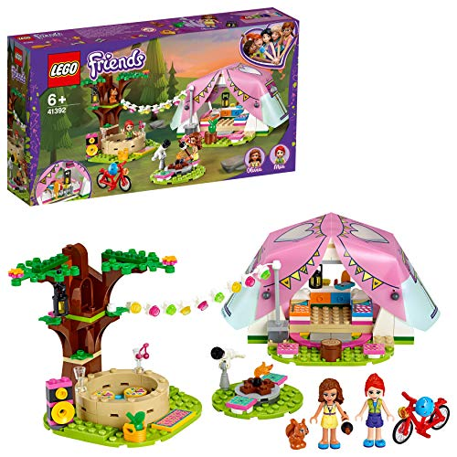 LEGO 41392 Friends Camping in Heartlake City, Spielset mit Olivia & Mia Mini Puppen und Zelt