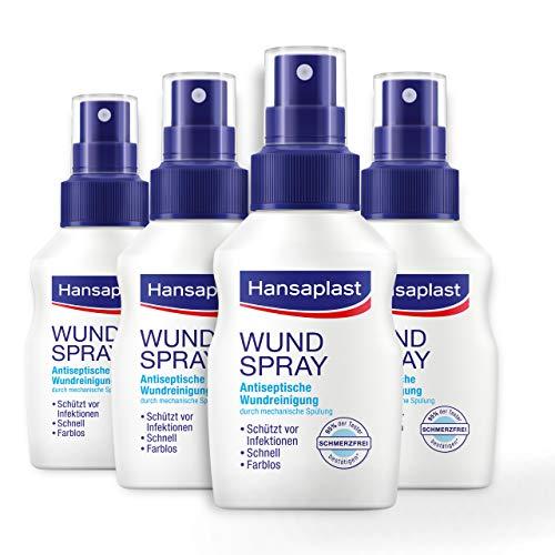 Hansaplast Wundspray 4er Set (50 ml) zur antiseptischen Wundreinigung, Wunddesinfektionsmittel Spray für empfindliche Haut, farblose Wunddesinfektion