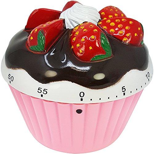 com-four® Reloj despertador a corto plazo con un bonito diseño de cupcakes, hasta 60 minutos, temporizador para huevos, temporizador de plástico rosa aproximadamente 7 x 7 x 4 cm (01 pieza - rosa)
