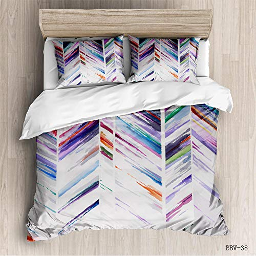 aakkjjzz Double Duvet Covers Set Easy Care Hypoallergenic 3 Pcs Bedding Set Microfiber Machine Washable Color Pattern Quilt Cover 200X200cm and 2 Pieces Pillowcases 50X75cm for Double Bed