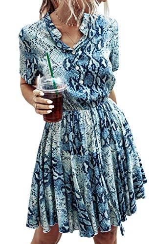 Spec4Y Damen Kleider Kurz V-Ausschnitt Knielang Sommerkleid Swing Plissee Minikleid Blumendruck Strandkleid mit Knopf 183 Blau Large
