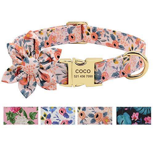 Beirui Hundehalsband für Hündinnen mit Blumenmuster und Gravur, mit goldfarbener Schnalle (orangefarbenes Muster, Größe M)