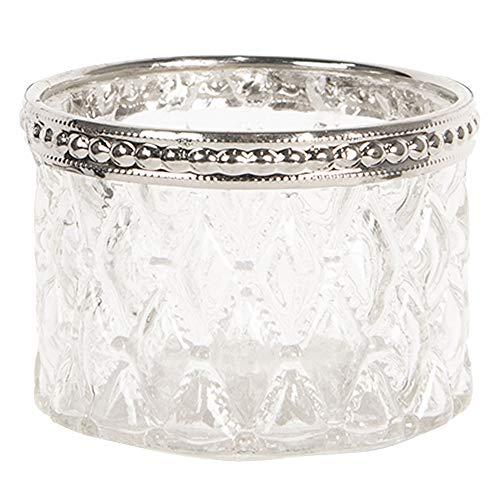 Clayre & Eef Glazen Theelichthouder Ø 6 * 4 cm Transparant Glas/metaal Rond Waxinelichthouder Waxinelichthouder Windlichthouder